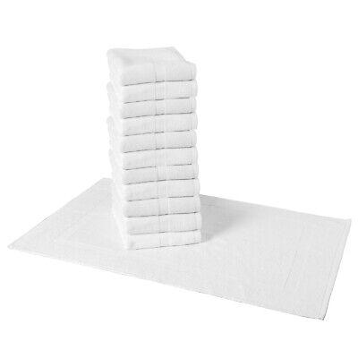 Bulk 12-Pack of Admiral Bath Mat Rugs - 20 x 30 White Cotton Bathroom Floor Set