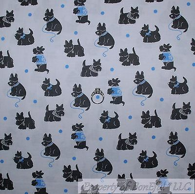 BonEful Fabric Cotton Quilt White Blue Dot DOG Scottie Scottish Terrier US SCRAP