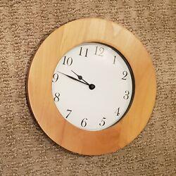 Modern Light Oak Wall Clock Wooden Rim Round 11