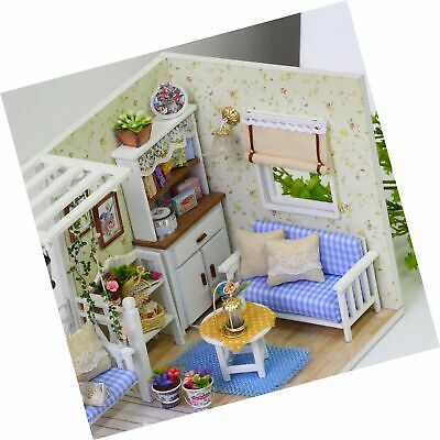 Ogrmar Wooden Dollhouse Miniatures DIY House Kit With Cover And Led Light-Cat... - $39.99