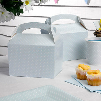 8 BLUE POLKA DOT LUNCH PICNIC BOXES Vintage Rose Tiny Feet P