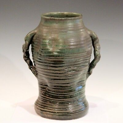 Large Japanese Style Vintage Studio Pottery Arts & Crafts Vase Ribs Crystalline