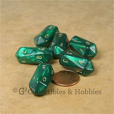 NEW 6 Crystal Caste Pearl Green Ten Sided Dice Set RPG D&D Gaming Barrel D10 for sale  Shipping to India