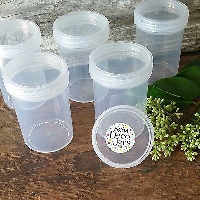 - 9 Plastic Jar Bottle Clear Cap Screw Top 3 ounce Herbs 5314 DecoJars USA New