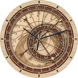 Clock Astronomical Prague Orloj Wood Mechanical Wall Mount Home Office Decor