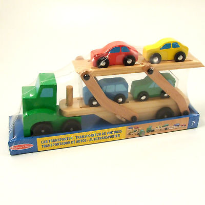 Wooden Toy Car Transporter Melissa and Doug 4 Cars + Ramp Age 3+