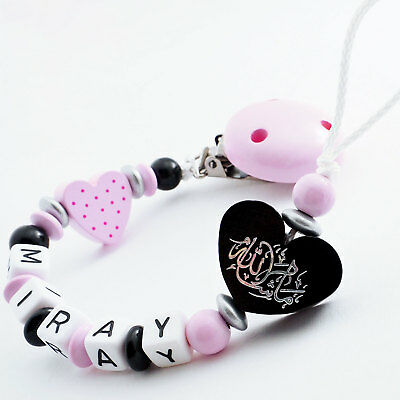 Arabische Schnullerkette mit Namen ♥ Mädchen ♥ Mashallah ♥ Babygeschenk rosa