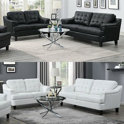 Modern Casual 2-Piece Sofa Loveseat Set Black or White Performance Faux Leather ()