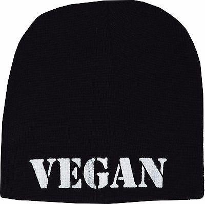 VEGAN BLACK KNITTED BEANIE SKI HAT MEAT US MURDER PUNK ANIMAL LOVER CRUELTY (Animal Hat)