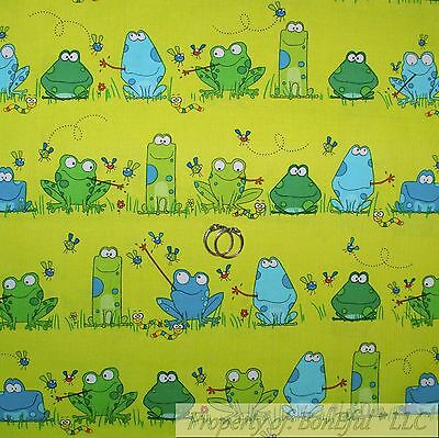 BonEful FABRIC FQ Cotton Quilt Green Blue Water FROG Fly Cartoon Stripe Dot Boy Frog Quilting Fabric
