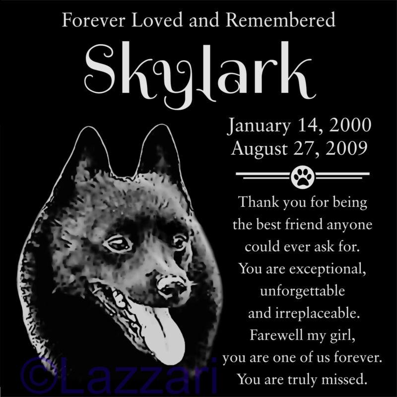 Personalized Schipperke Dog Pet Memorial 12x12 Granite Headstone Grave Marker
