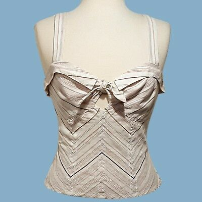 Free People Cotton Camisole - NWT FREE PEOPLE Ivory Striped Linen Cotton Camisole Top Womens 8 NEW