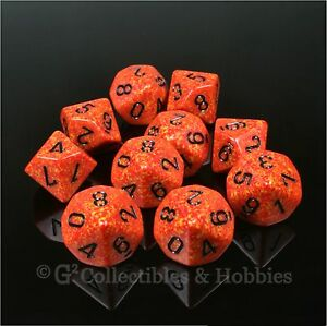 NEW-10-D10-FIRE-Elemental-RED-RPG-D-D-Gaming-Dice-Set