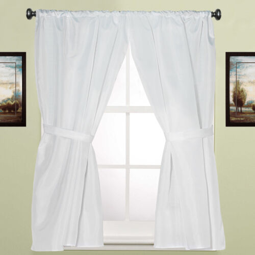 Water Resistant White Fabric Bathroom Window Curtain Pair w/