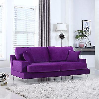 Ultra Plush Velvet Living Room Sofa in Purple