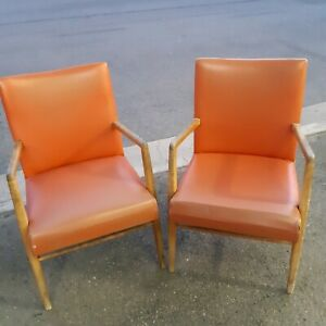 Pair of Burnt Orange Vinyl and Wood MCM Chairs Newcastle West Newcastle Area Preview