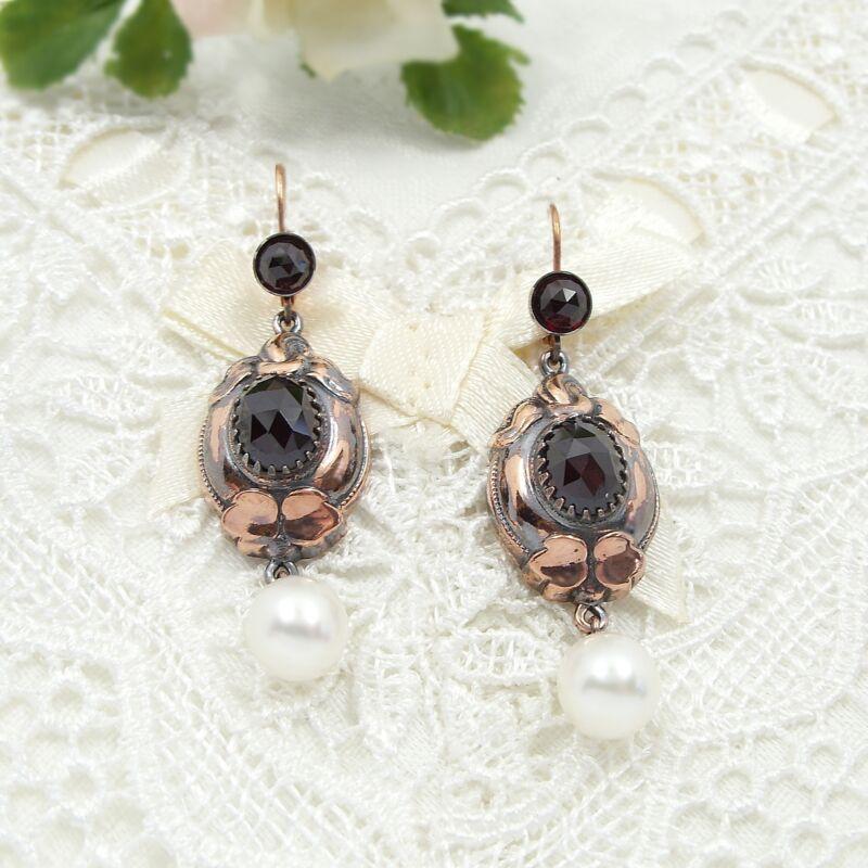 Stunning oval garnet earrings with freshwater pearls in Edwardian style 210323j