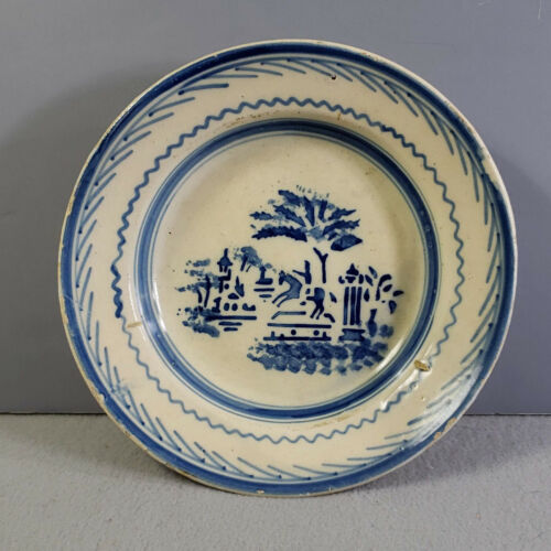 """Antique VINTAGE Blue & White 9-1/4"""" POTTERY BOWL with Horse and Rider Scene"""
