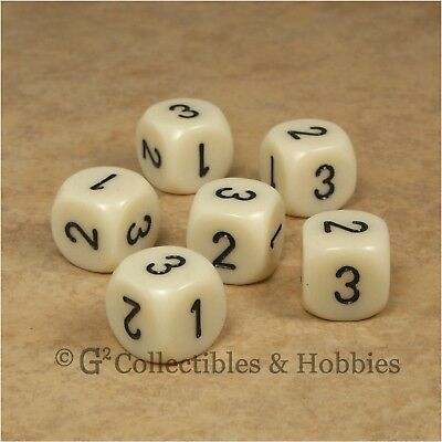 NEW Set of 6 D3 Six Sided 1 to 3 Twice Ivory Game Dice D&D RPG 16mm Chessex for sale  Columbus