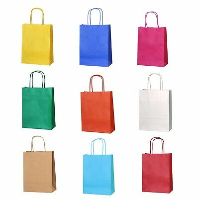 Paper Bag Party Bags (10 Bright Paper Party Bags - Gift Bag With Handles -Birthday Loot)