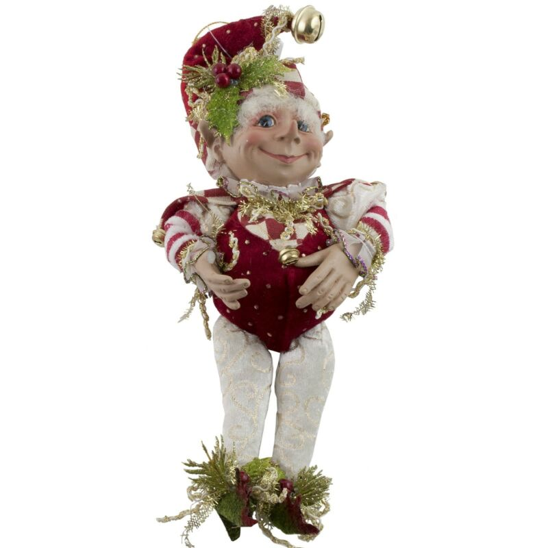 """Christmas Elf Jester Red Green Gold Posable 10"""" Doll Hat & Collar"""