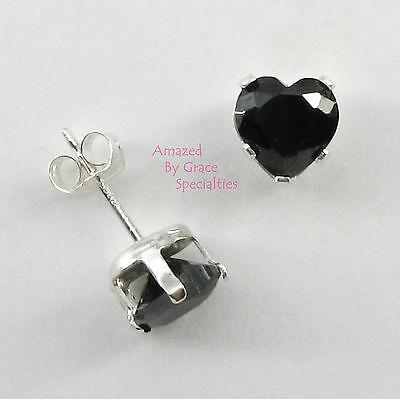 6mm Onyx Black HEART POST or STUD EARRINGS in SOLID 925 Sterling Silver Settings