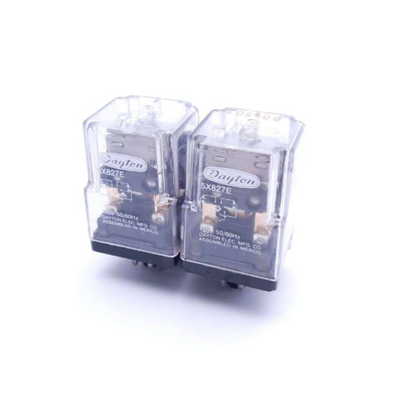 Lot of 2 Dayton 5X827E Ice Cube Relays, 120V Coil Voltage, DPDT, 8-Pin
