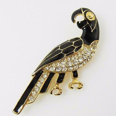 Vtg Gold Tone Rhinestone Enamel Bird Parrot Parakeet Costume Jewelry Pin Brooch](Parakeet Costume)