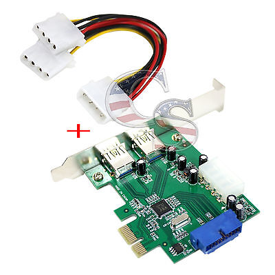 2 Port USB 3.0 PCI-E Express Card HUB Controller Adapter Card Internal 20Pin