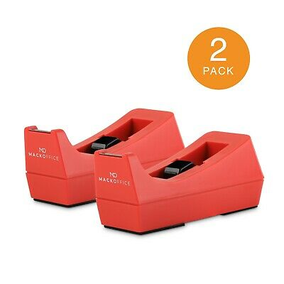 Mackoffice Desktop Tape Dispenser Red 2 Pack For Office And School Supply