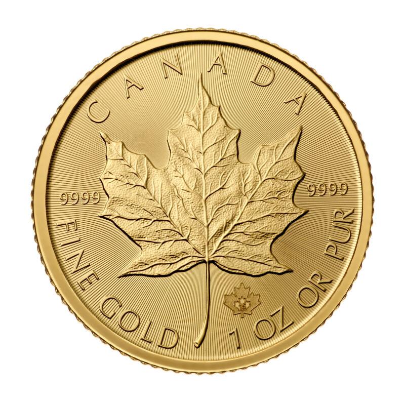 1oz Gold Canadian Maple Leaf (Random Date) BU