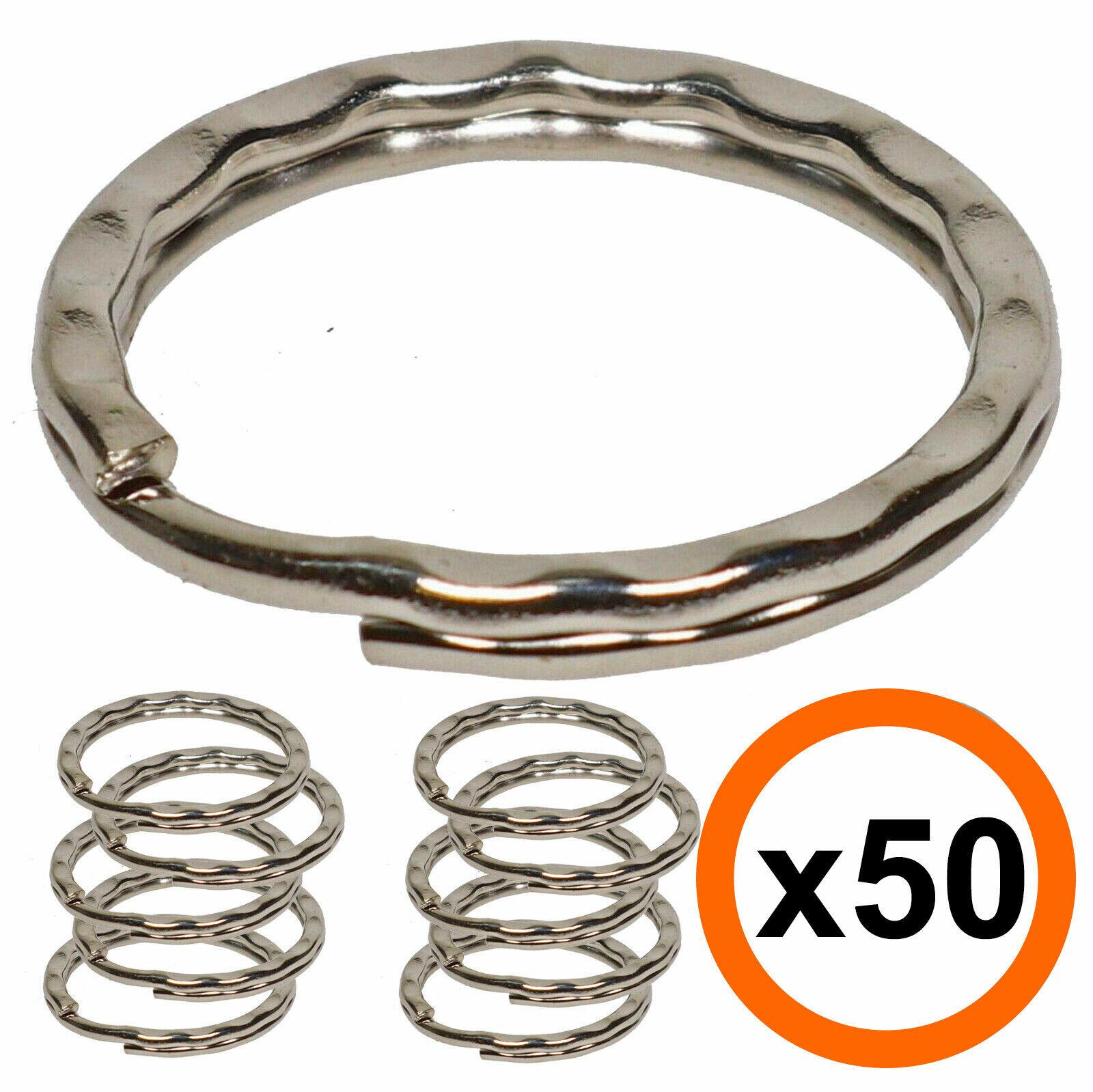 Key Chain Ring Silver Split Ring Key Chain Accessories Key Ring Nickel Plated Silver Split Rings 24mm Split Ring 50 Pack