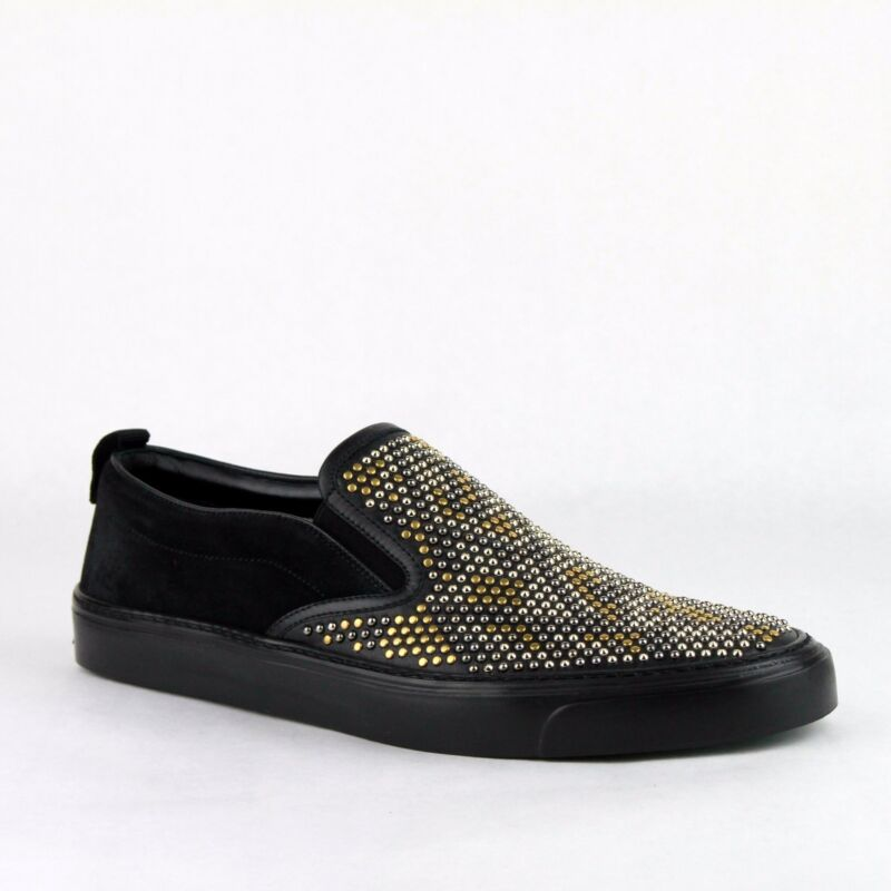 3f2e8bf3153a  980 Gucci Men s Black Leather Suede Studded Slip-on Shoes Sneakers 386777  1000