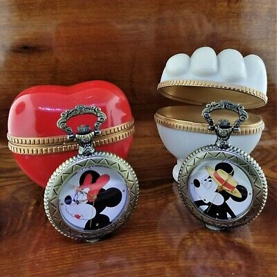 DISNEY Mickey & Minnie Mouse Sweethearts LIMITED EDITION Pocket Watch Set