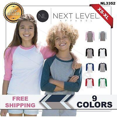Next Level Youth CVC 3/4-Sleeve Baseball T-Shirt. 3352  Baseball Youth T-shirt