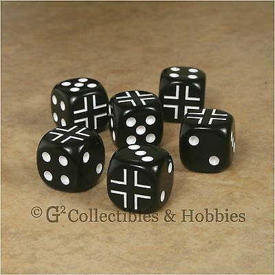 NEW 6 German Iron Cross Dice Set 16mm RPG War Game D6 WWII Germany Army