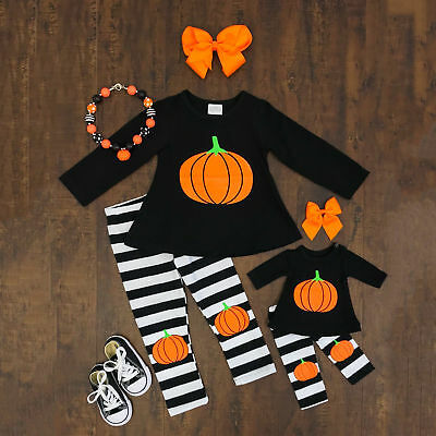 Striped Toddler Kids Baby Girls Pumpkin Outfits Clothes T-shirt Tops+Long Pants](Baby Pumpkin Outfit)