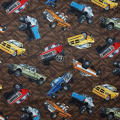 Used, BonEful Fabric FQ Cotton Quilt Brown BIG TIRE Monster TRUCK Mud Track Race Car L for sale  Richland