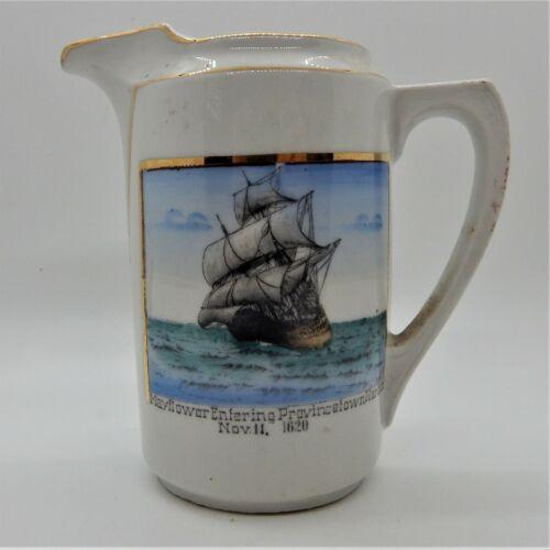 Mayflower Entering Provincetown Harbor Nov. 11, 1620 Souvenir Pitcher Circa 1920