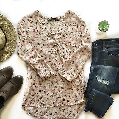 Zara Basic Floral V Neck Tunic Blouse Size Small