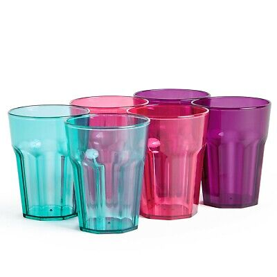 VonShef Set of 6 Plastic Cups 16oz Shatterproof 3 Colors & Dishwasher - 16 Oz Cups