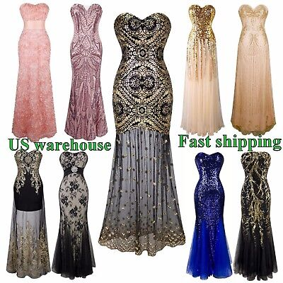 Gatsby Inspired Vintage 1920's Art Deco PROM Transparent Mermaid Dress | USA - Great Gatsby Inspired Dresses