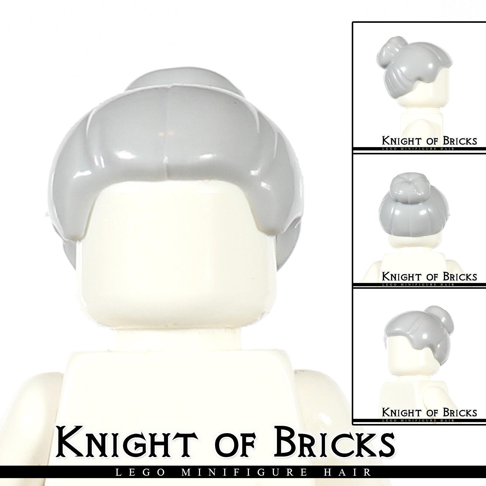 LEGO Minifigure Hair LIGHT GRAY 64807 Female Girl Short Braided on Sides City