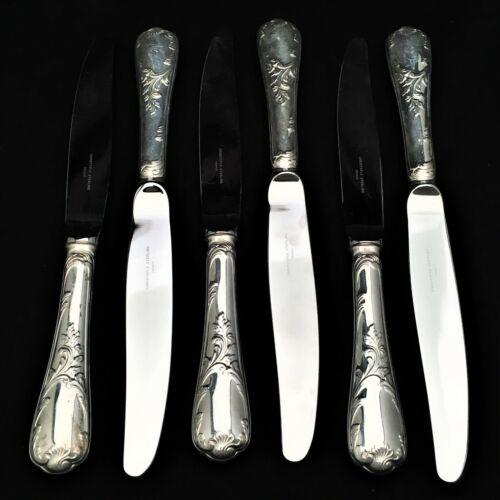 "Christofle Sterling Silver 9.75"" Dinner Knife Set of 6, Marly Pattern"