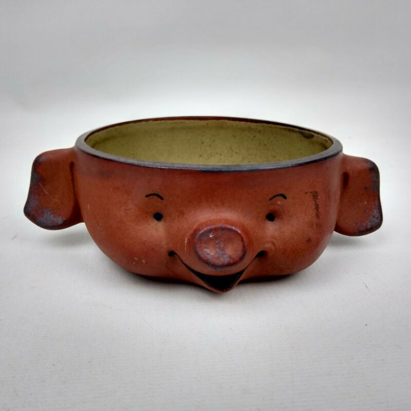 Vintage UCTCI Pig Bowl Dish Tray Japan Gempo Stoneware Pottery Happy Pig Face