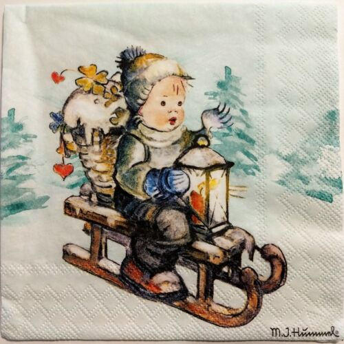 CHRISTMAS WINTER SNOW SLED CHILD 2 single LUNCH SIZE paper n