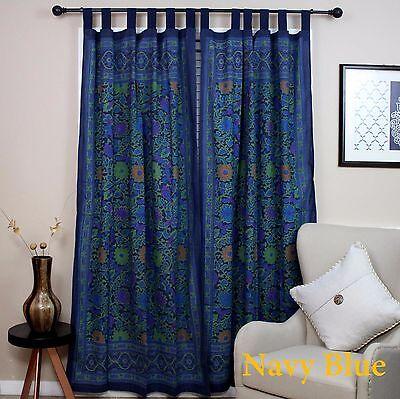 Tab Top Drapes (Handmade 100% Cotton Sunflower Floral Tab Top Curtain Drape Door Panel Navy Blue )