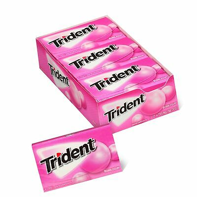 Trident Bubblegum Sugar Free Gum, 12 Packs of 14 Pieces (168 Total Pieces)