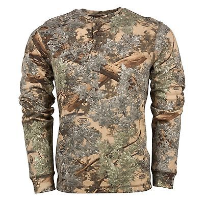 Desert Camo Thermal - KING'S Camo Desert Shadow Men's LARGE Cotton Long Sleeve Thermal Henley KCB106DS
