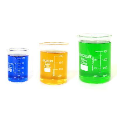 Sciencent Borosilicate Glass Low Form Glass Beaker 100250500 Pack Of 3
